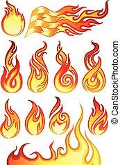 feuer, feuerflammen, sammlung