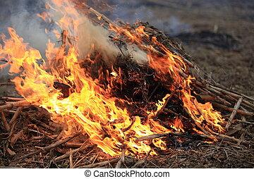 feuer, flamme, brennender