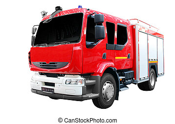 feuer, front, lastwagen, ansicht