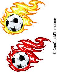 feuer, fußball, feuerflammen, kugel
