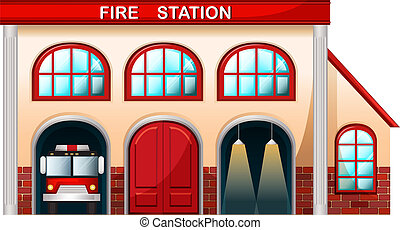 feuer, gebäude, station