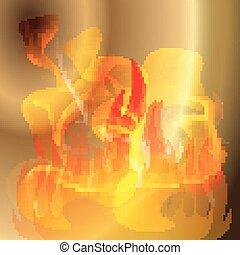 feuer, goldener hintergrund