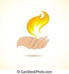 feuer, hände halten