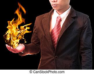 feuer, halten hand, brennender, mann, geschaeftswelt