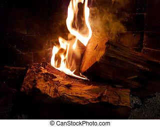 feuer, kaminofen, feuerflammen, wälder, winter