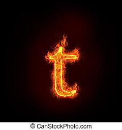 feuer, klein, alphabete, brief, t