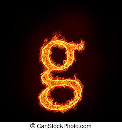 feuer, klein, alphabete, buchstabe g