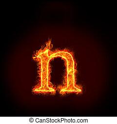feuer, klein, alphabete, buchstabe n