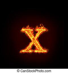 feuer, klein, alphabete, buchstabe x