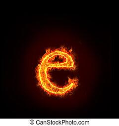 feuer, klein, e, alphabete, brief