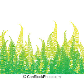 feuer, kritzeln, grass., vektor, grün