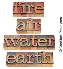 feuer, luft, wasser, und, erde