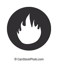 feuer, monochrom, runder , ikone