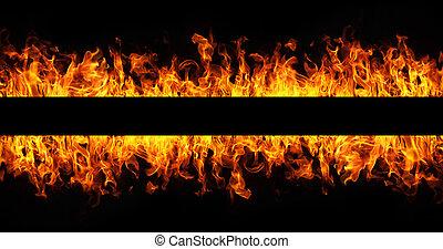 feuer-rahmen, schwarzer hintergrund, feuerflammen