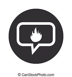 feuer, runder , dialog, ikone