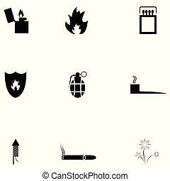 feuer, satz, ikone