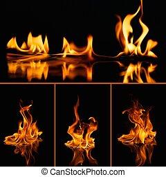 feuer, satz, schwarz, feuerflammen