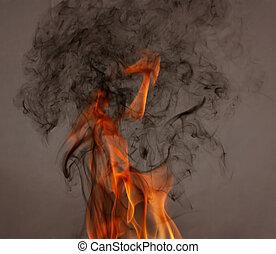 feuer, schwarzer rauch