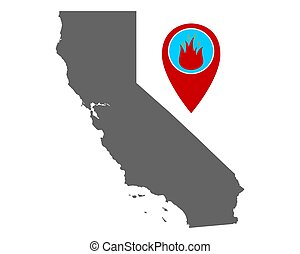 feuer, stift, warnung, landkarte, kalifornien