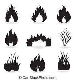 feuer, symbole, flamme