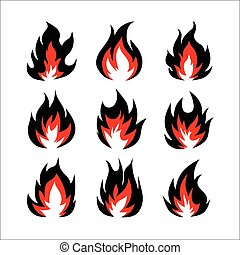 feuer, symbole, satz, illustration., vektor