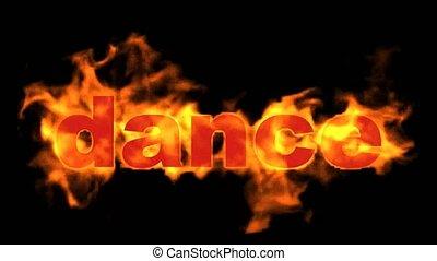 feuer, text., wort, brennen, tanz