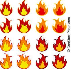feuer, vektor, feuerflammen