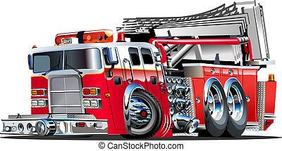 feuer, vektor, lastwagen, karikatur