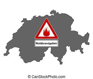 feuer, wald, verkehrszeichen, landkarte, schweiz