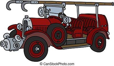 feuer, weinlese, lastwagen
