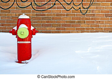 feuer, winter, rotes , hydrant