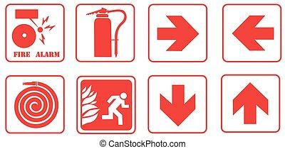 feuer, zeichen & schilder, alarm