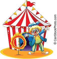 feuer, zirkus, zurück, clown, ring, zelt