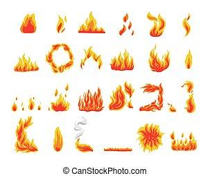 feuerflammen, vektor, feuer, symbole, sammlung,...