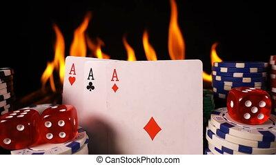 feuerhaken, feuer, würfelt, karten, spielen chips