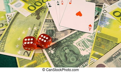 feuerhaken, geld, würfelt, karten, spielen chips, rotes