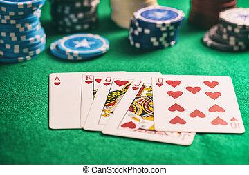 feuerhaken, kasino, concept., filz, königlich, gluecksspiel, grün, erröten, karten, herzen, späne