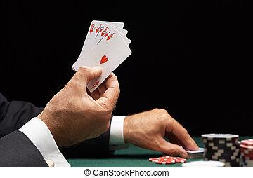 feuerhaken, spieler, gewinnend hand, von, karten, royal flush