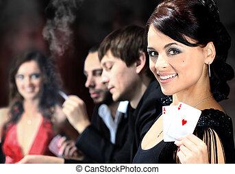 feuerhaken, ungefähr, sitzen, kasino, spieler, tisch