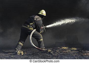 feuerhaus, feuerwehrmänner, löschen, brennender