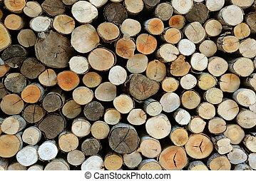 feuerholz, alpin, winter, für, hintergrund