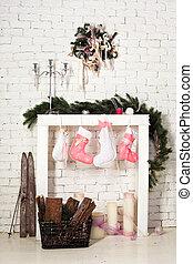 feuerholz, nachahmung, struempfe, weihnachten