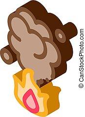 feuersbrunst, vektor, isometrisch, ikone, brennen, abbildung...