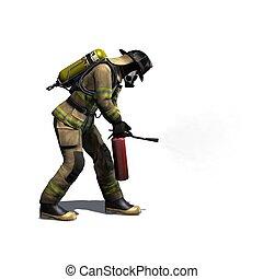 feuerwehrmann, mit, feuerlöscher, -, freigestellt, weiß,...