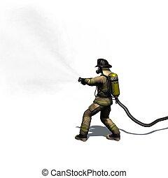 feuerwehrmann, mit, wasserschlauch, -, freigestellt, weiß,...