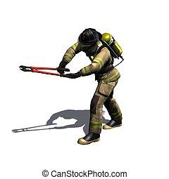 feuerwehrmann, schnitte, mit, kneifzange, -, freigestellt,...