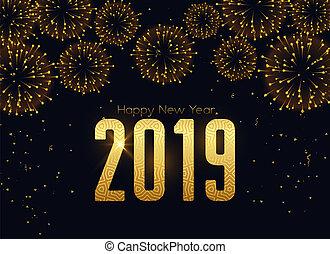feuerwerk, 2019, hintergrund, jahr, neu , feier, glücklich