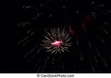 feuerwerk, an, der, party