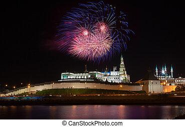 feuerwerk, aus, kreml, in, kazan, russland