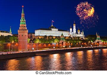 feuerwerk, aus, kreml, in, moskauer